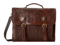 American West Stagecoach Multi Compartment Briefcase Chestnut Brown Chocolate Brown Briefcase Bags