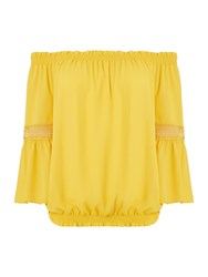 Biba Off The Shoulder Lace Detail Blouse Yellow