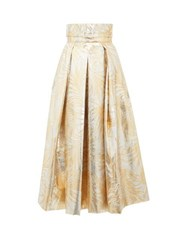 Sara Battaglia Belted High Rise Palm Leaf Brocade Midi Skirt Gold Multi