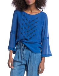 Plenty By Tracy Reese Bell Sleeve Blouse Blue
