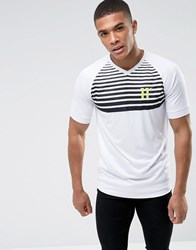 11 Degrees T Shirt In White With Stripes White