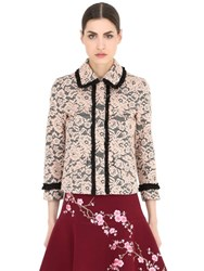 Ainea Ruffled Trim Wool Blend Lace Jacket
