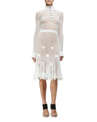 Derek Lam Long Sleeve Button Front Crochet Dress White Women's