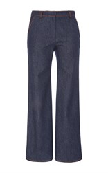 Agnona Denim Side Zip Trousers Blue