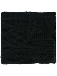 Moncler Cable Knit Scarf Black