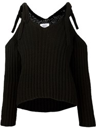 Rosie Assoulin Naked Shoulder Ribbed Sweater Black