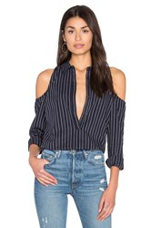 Roi Dobby Stripe Cold Shoulder Shirt Black