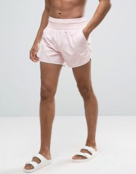 Asos Runner Swim Shorts In Pink With Deep Waistband Pink