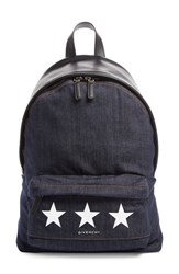 Givenchy Small Star Print Denim And Leather Backpack
