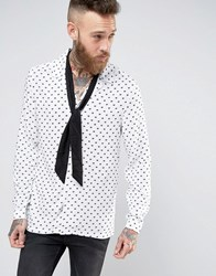 Asos Regular Fit Shirt With Broken Heart Print And Detachable Neck Scarf White