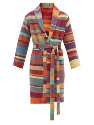 The Elder Statesman Striped Cashmere Knit Robe Yellow Multi