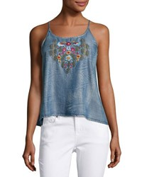 Velvet Heart Mical Embroidered Chambray Tank Blue Yellow