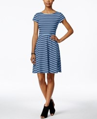 American Living Striped Fit And Flare Dress Only At Macy's Blue Ridge Ocean Blue