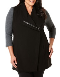 Rafaella Plus Plus Asymmetrical Knit Vest Black