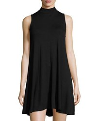 Joan Vass Sleeveless Mock Neck Swing Dress Black