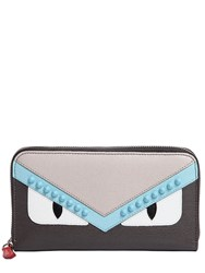 Fendi Bugs Leather Zip Around Wallet