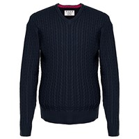 Thomas Pink Butterfield Cable Knit Cotton Jumper Navy