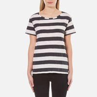 Maison Scotch Women's Loose Fit T Shirt In Stripes Multi