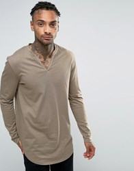 Asos Longline Long Sleeve T Shirt With Notch Neck And Curve Hem Taupe Brown