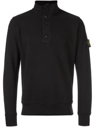 Stone Island Zipped Buttoned Pullover Black