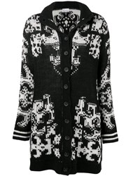 Red Valentino Patterned Ribbed Cardigan Black