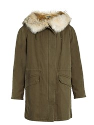 Yves Salomon Fur Lined Canvas Parka Khaki