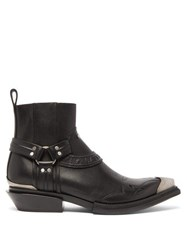 Balenciaga Santiag Western Leather Boots Black