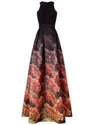 Adrianna Papell Halter Jersey Print Mikado Gown Black Multi