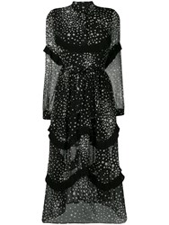 Jovonna Star Print Flared Dress Black