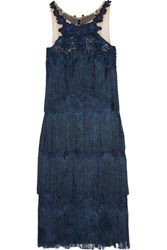 Marchesa Notte Fringed Appliqued Guipure Lace Dress Navy