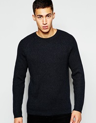 French Connection Crew Neck Ribbed Knitted Jumper Marineblue