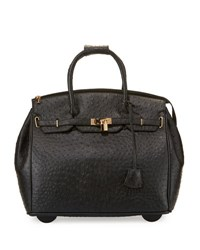 Kc Jagger Kendall Ostrich Embossed Faux Leather Rolling Bag Black