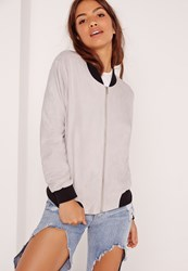 Missguided Contrast Rib Faux Suede Bomber Jacket Grey Grey
