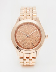 New Look Rose Gold Glitter Face Watch Nude