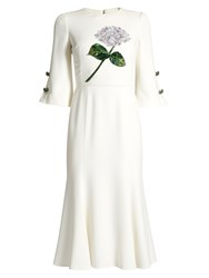 Dolce And Gabbana Sequin Embellished Flower Applique Cady Dress White Multi