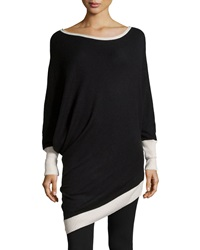 Bcbgmaxazria Wool Blend Contrast Asymmetric Tunic Black