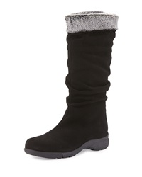 Trevis Slouchy Suede Weather Boot Black La Canadienne