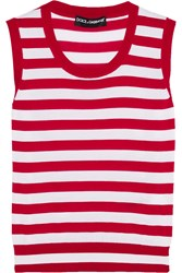 Dolce And Gabbana Striped Cashmere And Silk Blend Tank Red