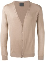 Laneus V Neck Cardigan Brown