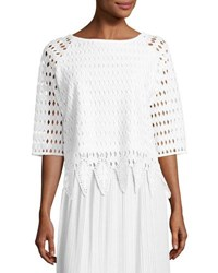 Joan Vass Woven Lace Top White