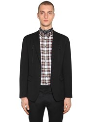Dsquared Manchester Fit Wool Cady Jacket W Zips Black