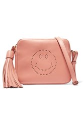 Anya Hindmarch Smiley Perforated Leather Shoulder Bag Antique Rose
