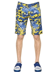 Dirk Bikkembergs Floral Printed Cotton Gabardine Shorts Yellow Blue