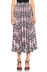 Elle Sasson Koa Pleated Skirt In Abstract Purple Geometric Print