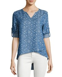 Neiman Marcus Tab Sleeve Split Neck Chambray Top Blue Pattern