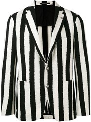 Tagliatore Striped Blazer Men Cotton Cupro 46 Black