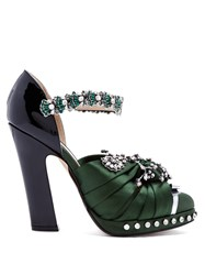 N 21 Crystal Embellished Satin And Leather Pumps Black Green