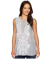 Dylan By True Grit Artisan Sleeveless Stripe Tunic With White Embroidery Indigo Blue