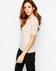 Warehouse Woven Front Crew Neck Tee Neutral