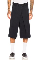 Willy Chavarria Fold Over Flat Front Shorts Navy